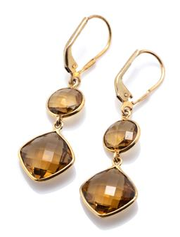 Sale 9221 - Lot 308 - A PAIR OF SILVER GILT SMOKY QUARTZ EARRINGS; articulated drops each collet set with a round and cushion shape chequerboard cut smoky...