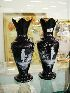 Sale 7360 - Lot 10 - A PAIR OF EDWARDIAN MARY GREGORY BLACK GROUND VASES