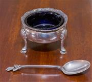 Sale 8346A - Lot 63 - A George III silver salt with gadrooned edge and ball feet, together with a silver spoon