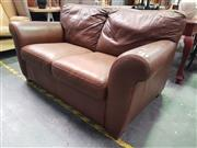 Sale 8669 - Lot 1066 - Brown Leather 2 Seater Lounge