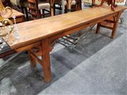 Sale 8843 - Lot 1034A - Oriental Hall Seat with Carved Base (H: 51 W: 187 D: 38cm)