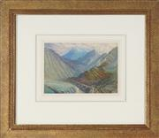 Sale 8888 - Lot 2007 - Artist Unknown (early C20th) - Valley and Mountains oil on panel, 39.5 x 45cm (frame), initialled H.W.P -