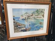 Sale 8914 - Lot 2065 - European Coast Scene watercolour by Unknown Artist, signed Lang