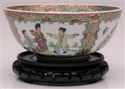Sale 9044 - Lot 80 - A Chinese Famille Verte Bowl on Stand, Handpainted and Decorated with Characters, Flora and Butterflies (Dia 23cm H 15cm)