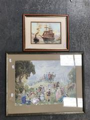 Sale 9045 - Lot 2066 - Norman Lindsay Decorative Print together with a John Allcott Maritime Print -