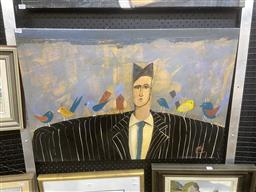 Sale 9094 - Lot 2029 - Pete Hogan Man in Pinstripe Suit with Birds acrylic on canvas, 57 x 84, signed lower left -