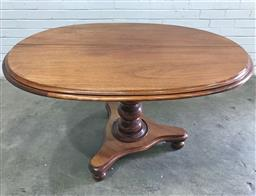 Sale 9126 - Lot 1221 - Late 19th Century Cedar Tilt-Top Supper Table, with oval top, on a turned pedestal & triform base (h:78 x w:135 x d:89cm)