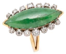 Sale 9132 - Lot 482 - AN 18CT GOLD JADE AND DIAMOND RING; end set with a 25 x 8.3mm navette shape green jadeite jade flanked by 12 single cut diamonds to...