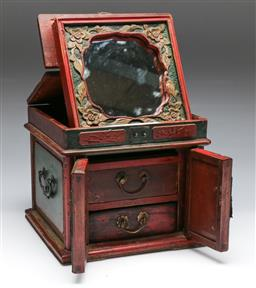 Sale 9164 - Lot 309 - A timber jewellery cabinet with folding mirror (H: 22cm)