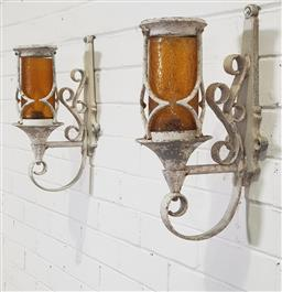 Sale 9188 - Lot 1690A - Pair of cast alloy wall light fittings (h43  x w23cm)