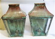 Sale 8272A - Lot 89 - A pair of well weathered all copper wall lanterns.   Size  42 x 26 x 13 cm