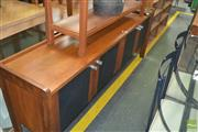 Sale 8331 - Lot 1321 - Timber Sideboard with Four Black Doors
