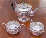 Sale 8346A - Lot 62 - A Crusader silver plated three piece tea set with grape vine design