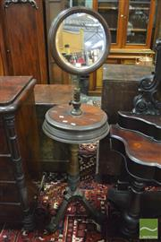 Sale 8359 - Lot 1039 - Late Victorian Walnut Shaving Stand, with circular mirror, two hinged compartments & turned pedestal