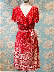 Sale 8474A - Lot 75 - A gorgeous Leona Edmiston Ruby Collection red frilly floral wrap dress, as new condition, size: 2