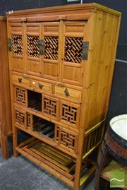 Sale 8523 - Lot 1010 - Chinese Elm Lattice Front Cabinet