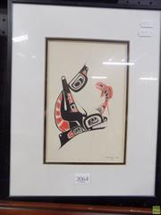 Sale 8561 - Lot 2064 - Danny Dennis Orca and Salmon, decorative print, 36 x 29cm (frame size)