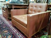 Sale 8580 - Lot 1050 - Pair of Leather Club Chairs