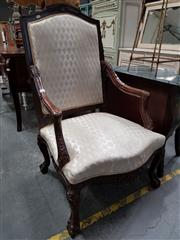 Sale 8688 - Lot 1099 - Upholstered High Back Timber Framed Carver