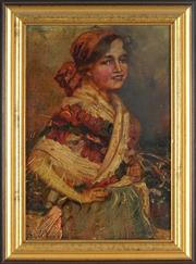 Sale 8845 - Lot 2019 - Artist Unkown - Peasant Girl 38 x 26cm