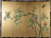 Sale 9003C - Lot 649 - A chinese Four panel floral screen on golden field (120cm x 90cm)