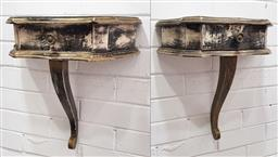 Sale 9102 - Lot 1212 - Pair of single drawer timber wall mount consoles (h43cm)