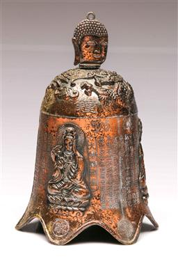 Sale 9107 - Lot 16 - A metal Chinese temple bell depicting buddhas (H:24cm)