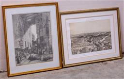 Sale 9150H - Lot 159 - Two gilt framed prints including one of Rome, Width 41cm