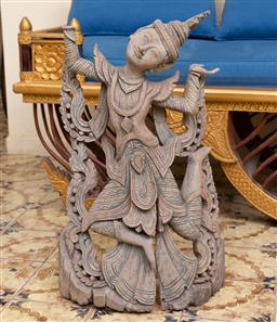 Sale 9164H - Lot 8 - A carved Thai dancing figure, missing right hand, Height 66cm x Width 40cm