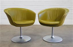 Sale 9188 - Lot 1060 - Pair of Walter Knoll Bob lounge armchairs in green leather  (h74 x d66cm)