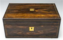 Sale 9211 - Lot 43 - A Rosewood and Brass Bound Writing Slope (H:15cm W:35cm D:23cm)