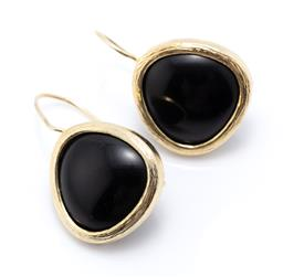Sale 9221 - Lot 399 - A PAIR OF SILVER GILT ONYX EARRINGS; rounded triangular shape drops to shepherds hook fittings, size 28 x 20mm, wt. 10.24g.