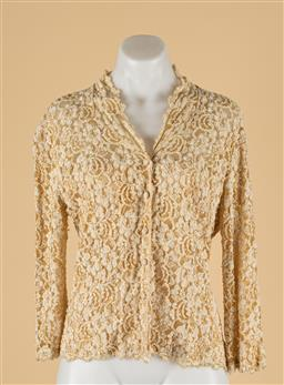 Sale 9260H - Lot 324 - A beige 30% polyester and 70% viscose beaded top, size L.