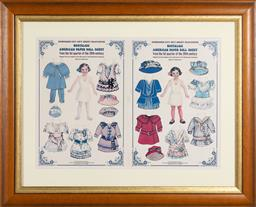 Sale 9260M - Lot 78 - A pair of framed doll themed prints including a French example, measurements inc. framing  45cm x 74cm