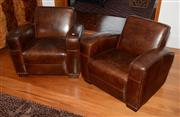 Sale 8098A - Lot 15 - A Pair of Leather Club Lounge Chairs