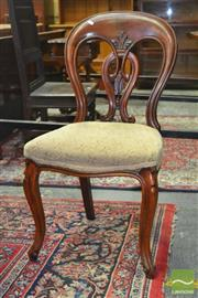 Sale 8255 - Lot 1040 - Set of Six Victorian Mahogany Dining Chairs, the balloon back with pierced splats & cabriole legs
