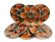 Sale 8272A - Lot 90 - A set of 6 French Sarreguemines majolica oyster plates Diameter 24 cm Minor crazing