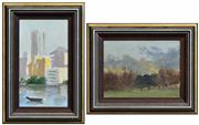 Sale 8294 - Lot 574 - Hayward Veal (1913 - 1968) (2 works) - Bay View; Country Landscape 22 x 12.5cm; 14.5 x 19cm
