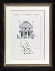 Sale 8342A - Lot 79 - French Architectural study, Hotel de Caisse dEpargne in black and gilt frame, 82 x 64cm inc. framing