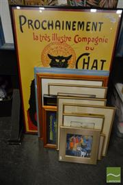Sale 8495 - Lot 2057 - 12 Framed Prints incl Art Nouveau Cats