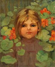 Sale 8549A - Lot 5055 - Artist Unknown - Young Girl among the Flowers 39 x 31cm
