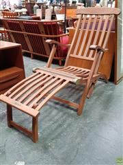 Sale 8585 - Lot 1010 - Rare Pair of Queen Mary First Class Timber Deck Chairs, with associated plaques reading Queen Mary and First Class Only