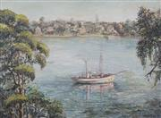 Sale 8732A - Lot 5003 - Alexandra Asovtseff (1910 - 1994) - Moored Boat, Linley Point, Sydney 1957 45 x 59cm