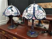 Sale 8745 - Lot 1008 - Pair of Leadlight Shade Table Lamps