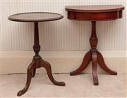 Sale 8881H - Lot 31 - A mahogany demi lune table on tri form base, together with a circular example. The demi lune table Height 61cm x Width 48cm x Depth...
