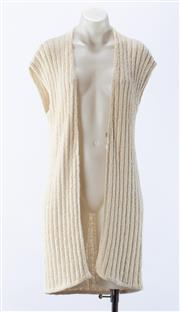 Sale 8910F - Lot 89 - A Brunello Cucinelli white ribbed knit sleeveless cardigan, size M