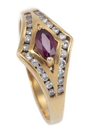Sale 8937 - Lot 412 - AN 18CT GOLD RUBY AND DIAMOND RING; centring a navette cut ruby to surround channel set with 24 round brilliant cut diamonds, size O...