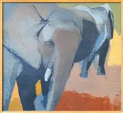 Sale 8964 - Lot 2003 - Lyn Denman Elephants at Dubbo 200 c1985  oil on canvas, 93.5 x 104cm (frame),  signed and inscribed verso