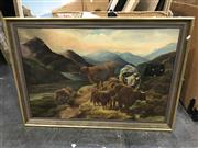 Sale 8981 - Lot 2015 - C19th Painting: WB Hall - Highland Cattle, oil on canvas, 60x88cm SLR