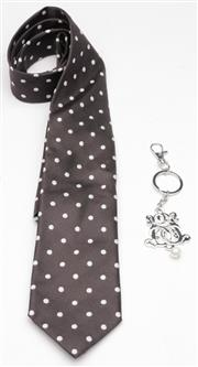 Sale 9080F - Lot 76 - A HARROLDS TIE AND A BOWERHAUS KEY RING; 100% silk charcoal with white spot tie plus a silver tone monogram key ring with dog clip a...